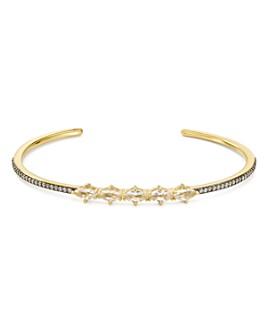 Nadri - White Topaz Cuff Bracelet in 18K Gold & Ruthenium Sterling Silver