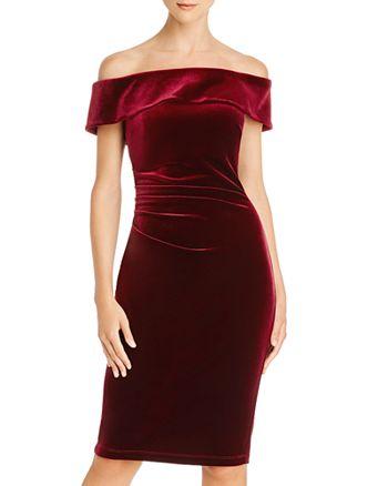 AQUA - Off-the-Shoulder Velvet Dress - 100% Exclusive