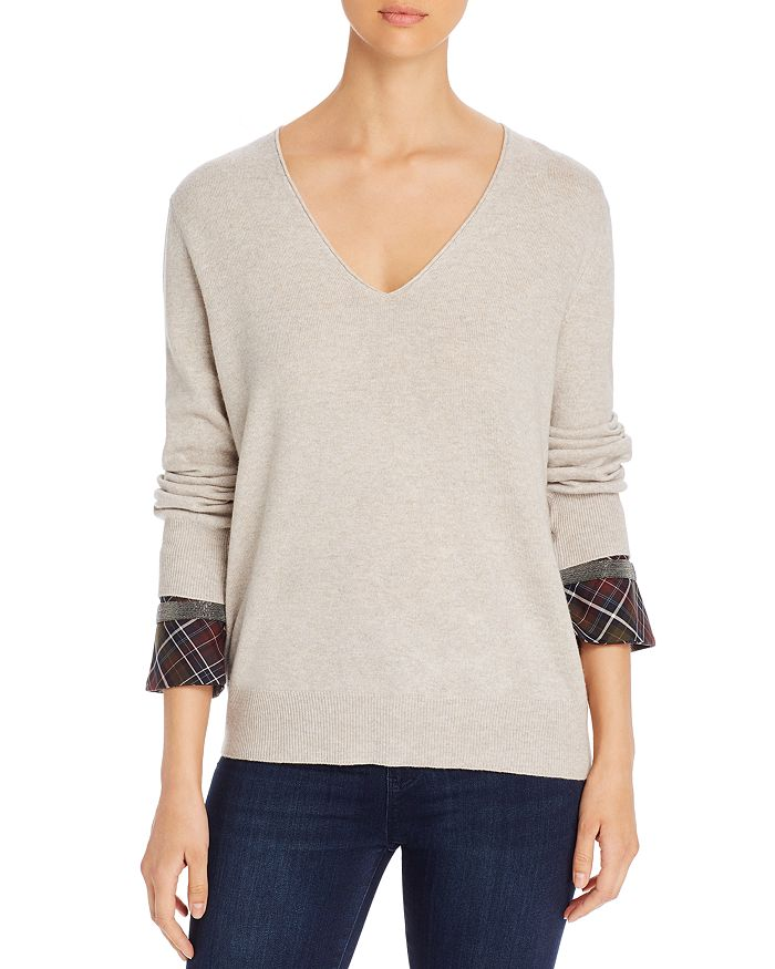 Fabiana Filippi - Plaid-Cuff V-Neck Sweater