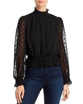 Lucy Paris - Flocked Polka Dot Top