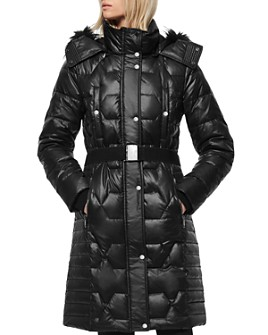 Marc New York - Faux Fur-Trim Belted Puffer Coat