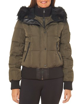 VINCE CAMUTO - Faux Shearling-Lined Hood Bomber Coat