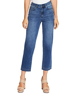 VINCE CAMUTO - Studded High-Rise Crop Straight Jeans in Spectrum Blue