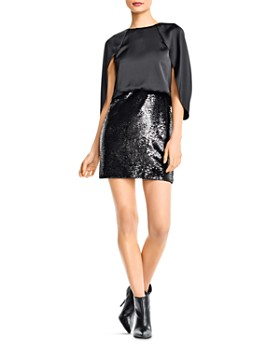 Aidan by Aidan Mattox - Sequined Charmeuse Capelet Dress