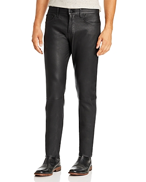 Joe\\\'s Jeans Asher Slim Fit Lamb Leather Pants in Jet Black-Men
