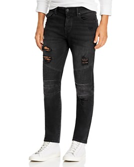 True Religion - Rocco Moto Super Stretch Skinny Fit Jeans in Black