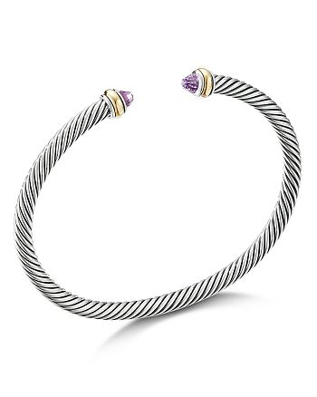David Yurman - Sterling Silver & 18K Yellow Gold Cable Cuff Bracelet with Amethyst