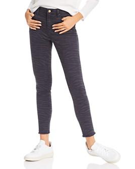 AQUA - Zebra Print Skinny Jeans in Navy/Black - 100% Exclusive