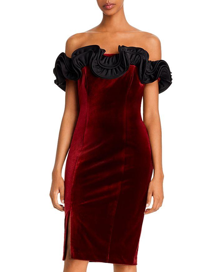 Aidan Mattox - Velvet Ruffled Off-the-Shoulder Dress