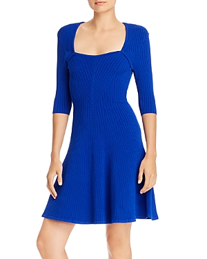 Milly Ribbed Fit And Flare Dress In Sapphire