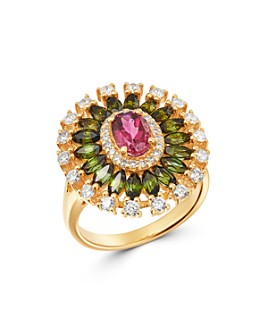 Bloomingdale's - Pink & Green Tourmaline & Diamond Ring in 14K Yellow Gold - 100% Exclusive