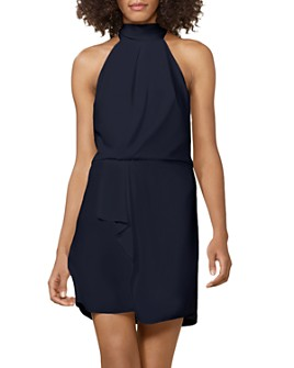 HALSTON - Mock-Neck Mini Dress - 100% Exclusive