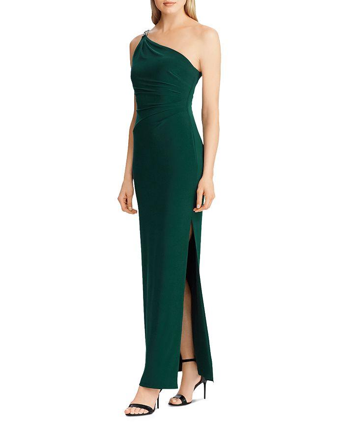 Ralph Lauren - Rhinestone-Strap One-Shoulder Gown