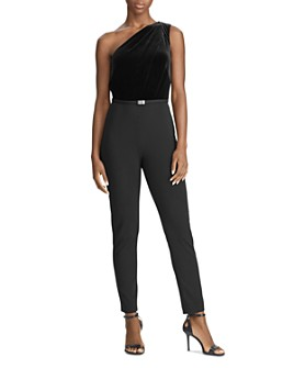Ralph Lauren - One-Shoulder Velvet Jersey Combo Jumpsuit