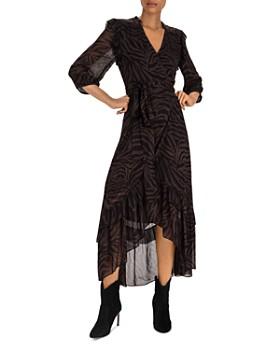 ba&sh - Selena Zebra-Stripe Wrap Dress