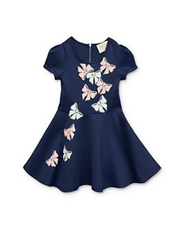 Hannah Banana - Girls' Sequined-Bows Fit-and-Flare Dress - Little Kid