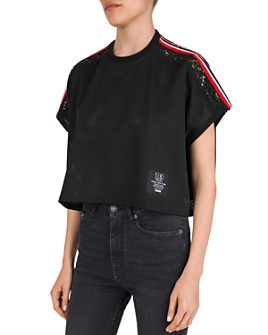 The Kooples - Cropped, Striped & Lace-Inset Mesh Tee