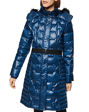 Marc New York Coats FAUX FUR-TRIM BELTED PUFFER COAT