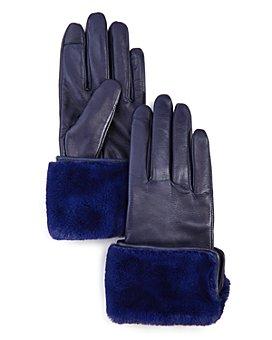 Echo - Faux Fur-Cuff Leather Tech Gloves