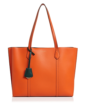 Tory Burch Perry Leather Tote In Canyon Orange/Gold