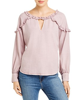 Billy T - Ruffled Keyhole Top