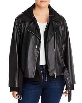 AQUA Curve - Leather Combo Hoodie Moto Jacket - 100% Exclusive