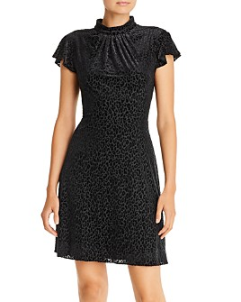 Adrianna Papell - Velvet Leopard Fit-and-Flare Dress