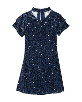 US Angels - Girls' Leopard Print Velvet Dress - Big Kid