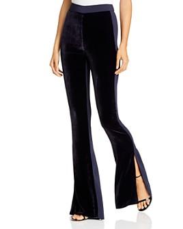 Cushnie - Flared Slit-Hem Velvet-Front Pants