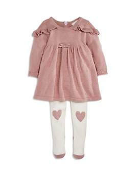 Miniclasix - Girls' Ruffled Sweater Dress & Heart Tights Set - Baby