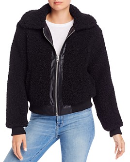 BLANKNYC - Faux Leather-Trimmed Sherpa Jacket