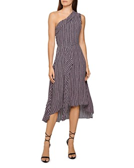 REISS - Nia Geometric Print One-Shoulder Midi Dress