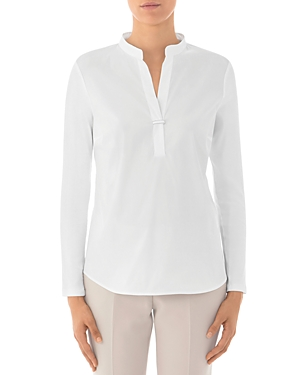 Peserico Paneled Knit-Sleeve Cotton-Blend Top-Women