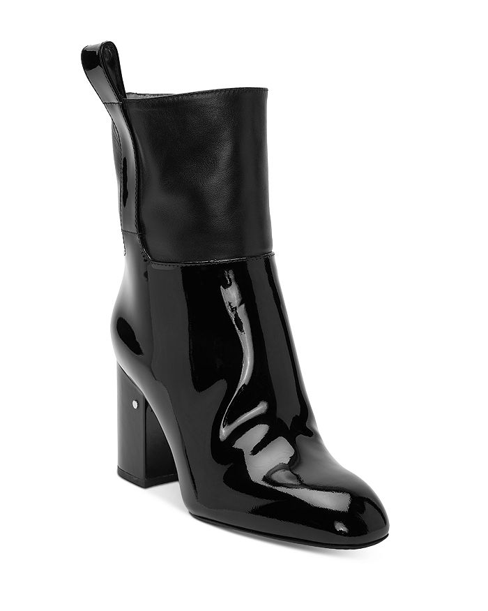 Laurence Dacade Boots WOMEN'S LEATHER & PATENT LEATHER BLOCK HEEL BOOTIES