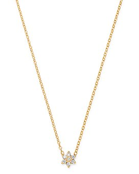 "Zoë Chicco - 14K Yellow Gold Prong Diamonds Flower Pendant Necklace, 14""-16"""