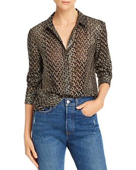 Equipment - Leema Flocked Metallic Dot Shirt