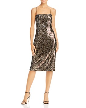 MILLY - Kaia Sequin Leopard Midi Dress