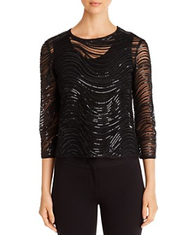 Armani - Waved Sequin-Embellished Blouse