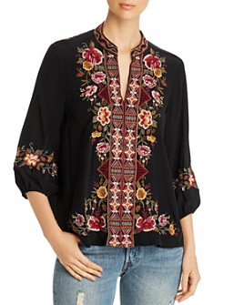 Johnny Was - Nepal Embroidered Silk Peasant Blouse