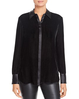 Elie Tahari - Ingunn Striped Velvet Blouse