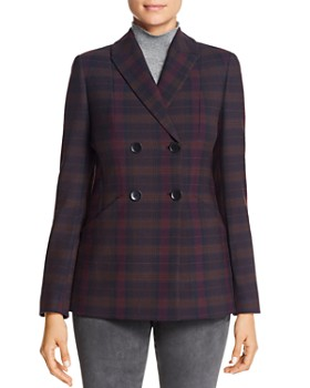 Elie Tahari - Launie Plaid Double-Breasted Blazer