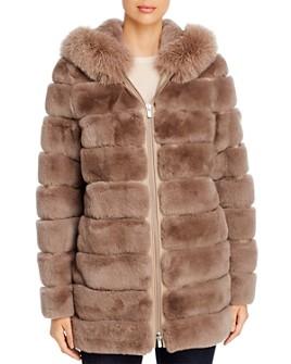 Maximilian Furs - Fox Fur-Trim Rabbit Fur Coat - 100% Exclusive