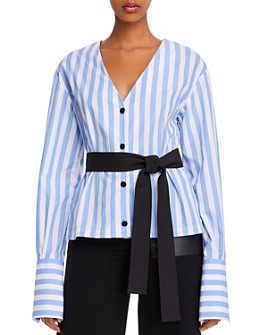 Yigal Azrouel - Belted & Striped Cotton V-Neck Shirt