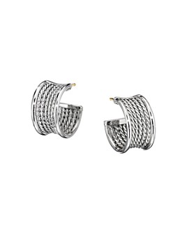 David Yurman - Sterling Silver Origami Cable Huggie Hoops