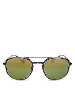 Ray-Ban Men's Chromance Polarized Brow Bar Aviator Sunglasses, 53mm