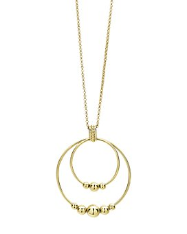 """LAGOS - 18K Yellow Gold Caviar Gold Rolo Chain Pendant Necklace, 16""""-18"""""""