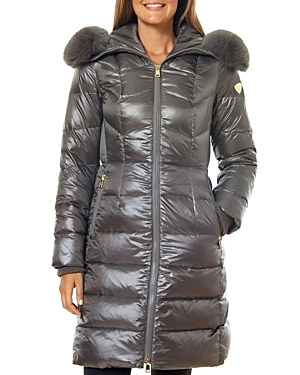 One Madison City Active Fur-Trim Long Puffer Coat