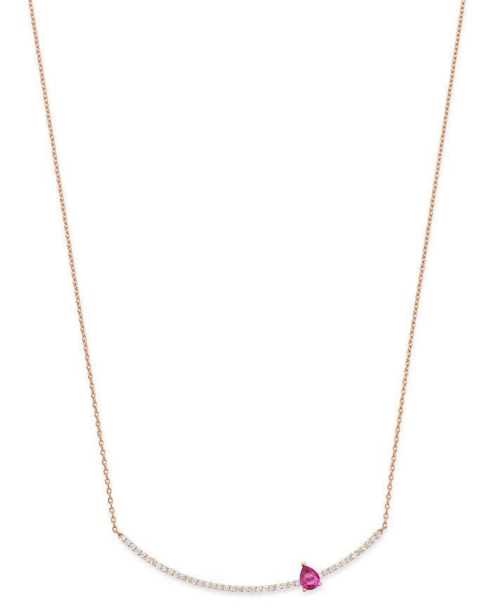 """OWN YOUR STORY - 14K Rose Gold Linear Red Garnet & Diamond Bar Pendant Necklace, 16""""-18"""""""