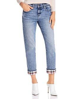 Pistola - Mason Plaid-Cuff Slim Straight-Leg Jeans in Dark Blue - 100% Exclusive