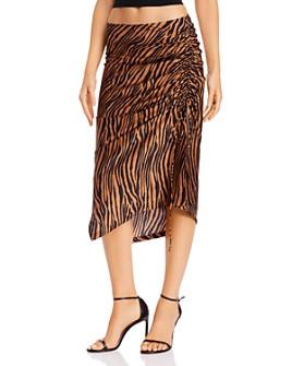 WAYF - Ruched Drawstring Tiger-Stripe Skirt